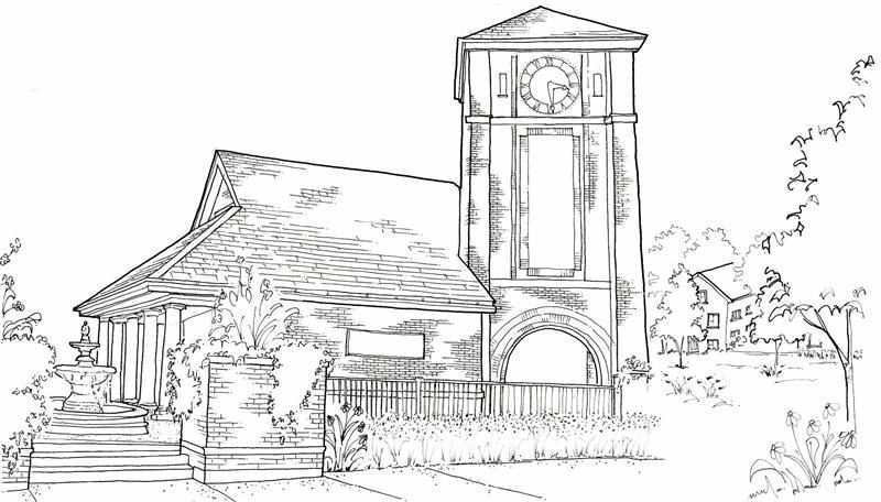Sketch of building with clock tower