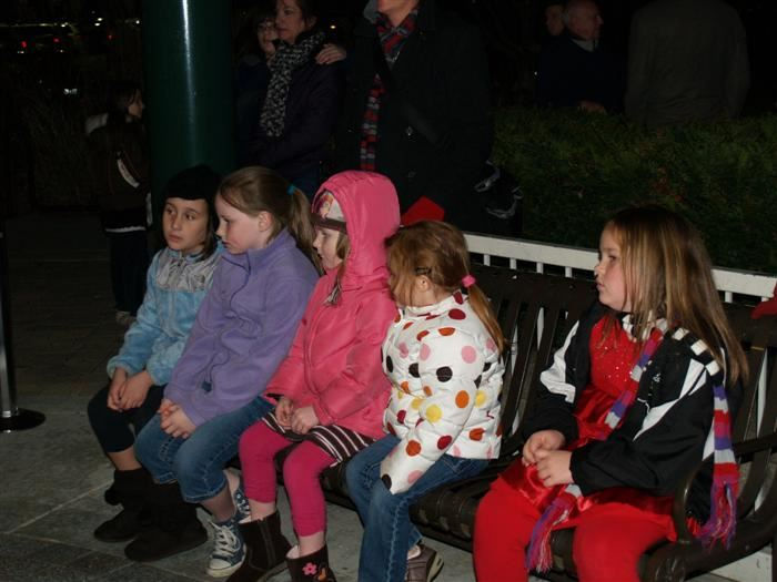 Girls waiting their turn to talk with Santa.